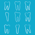 Human teeth icons set on blue background for dental medicine clinic. Linear dentist logo. Vector Royalty Free Stock Photo