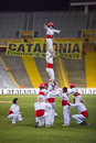 Human tower the national football team of catalonia beat cape verde at the annual christmas friendly match in lluís companys Stock Images