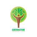 Human tree - vector logo template. Ecology sign. Nature symbol. Eco icon. Human character. People insignia. Design element