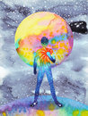 Human and universe power, watercolor painting, chakra reiki, abstract world universe inside your mind