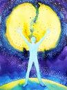 Human and universe power, watercolor painting, 7 of chakra yoga reiki