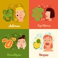 Human Viruses Concept Icons Set Royalty Free Stock Photo