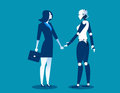 Human vs robot,Businesswoman standing with robot. Concept business automation future illustration. Vector cartoon character and ab Royalty Free Stock Photo