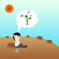 Human was deforest but he have still missing tree concept save the earth vector Royalty Free Stock Photo
