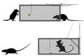 Humane rat trap editable vector illustration of a getting caught in a Royalty Free Stock Photography