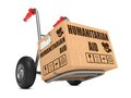 Humanitarian aid cardboard box on hand truck slogan white background Stock Photo