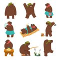 Humanized bear characters set, male and female brown bears wearing human clothes in different situations cartoon vector