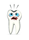 A humanized tooth suffering and screaming because of a cavity Stock Image