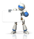 Humanoid is advocating the message board this a computer generated image on white background Royalty Free Stock Images