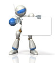 Humanoid is advocating the message board this a computer generated image on white background Stock Image