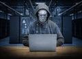 Humanoid robot hacker Royalty Free Stock Photo