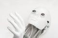 Humanoid robot head with hand closeup
