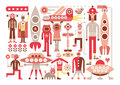 Humans and aliens meet friendly space travelers from other planets isolated vector illustration on white background Stock Images