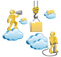 Humans and clouds human standing on a cloud shouting in megaphone isometric human uploads the files to the cloud vector Stock Images