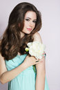 Humble young woman with peony flower modesty Stock Photography