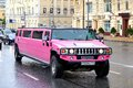 Hummer h moscow russia june pink limousine at the city street Stock Photo