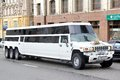 Hummer h moscow russia june white limousine at the city street Royalty Free Stock Photo