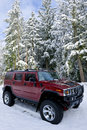 Hummer H2 in the snow Royalty Free Stock Photo