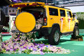 A hummer yellow is used to wedding Royalty Free Stock Photo