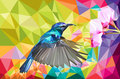 Humming bird vector lowpoly Royalty Free Stock Photo