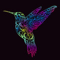 Hummingbird with floral ornament. Design concept for print, card, poster.