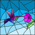 Hummingbird on a flower stained glass Royalty Free Stock Photo