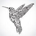 Hummingbird. Tattoo art. Retro banner, invitation,card, scrap booking. t-shirt, bag, postcard, poster Royalty Free Stock Photo