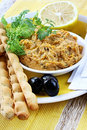 Hummus with Lemon and Cilantro Royalty Free Stock Photos