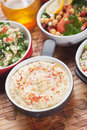 Hummus mediterranean chickpea and tahini dip sesame or spread Stock Photos