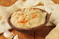 Hummus and pita bread garlic red pepper with wedges Stock Photo