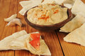 Hummus and pita bread garlic red pepper with wedges topped with tomato Royalty Free Stock Photography