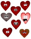 Humorous hearts on a neutral white background Royalty Free Stock Images