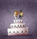 Humorous illustration of bride and bridegroom standing on wedding cake using their smartphones Stock Image
