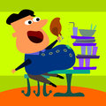 A humorous illustration of a man eating too much food Royalty Free Stock Image