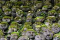 Humorous rakan stone buddha statues with funny faces partially covered by greenery Royalty Free Stock Photos
