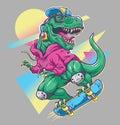 Humorous T rex Dinosaur riding on skateboard. Cool 80's illustration style. Royalty Free Stock Photo