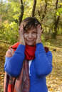 Humorous woman in autumn park Royalty Free Stock Images