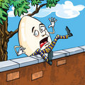 Humpty dumpty falling of the wall Stock Photo