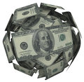 Hunded dollar bill money ball cash currency a or sphere of american bills or to illustrate growing your savings investment or Stock Image
