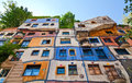 Hundertwasserhaus colourful facade of an apartment house in vienna built after the idea and concept of austrian artist Royalty Free Stock Image