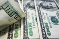 Hundred bills closeup of us one dollar Royalty Free Stock Image