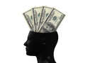 Hundred bills on mind one dollars cash money in human head isolated white background Royalty Free Stock Photo