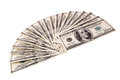 Hundred bills photo of on white background Stock Photo
