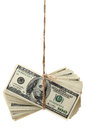 Hundred-dollar bills tied Royalty Free Stock Photo