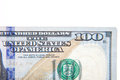 Hundred dollar note detail all on white background Royalty Free Stock Photography