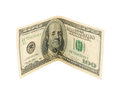 Hundred dollars isolated on a white background Stock Images
