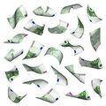 Hundred euro bills falling Royalty Free Stock Images