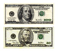 Hundred and fifty dollars bills on white background serial numbers removed Stock Image