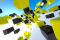 Hundred yellow black cubes floating sky Royalty Free Stock Photo