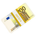 Hundreds euro banknotes pack on a white background Royalty Free Stock Image